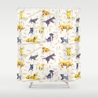 hunting Shower Curtains featuring Hunting Dogs by ascaliers