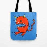 diablo Tote Bags featuring Huevo diablo by sitnuna