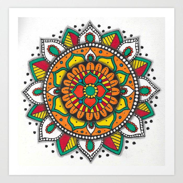 Colorful Mandala 1 Art Print By Vvicariart
