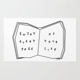 Enjoy Every Page Of Your Life - book illustration inspirational quote Rug