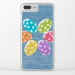 Colorful Easter eggs in blue wood texture Clear iPhone Case
