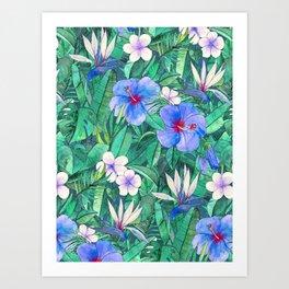 White Bird of Paradise & Blue Hibiscus Tropical Garden Art Print
