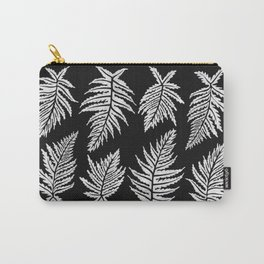 Inked Ferns – White Ink on Black Carry-All Pouch