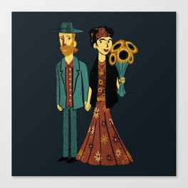 Love is Art Frida Kahlo and Van Gogh Canvas Print