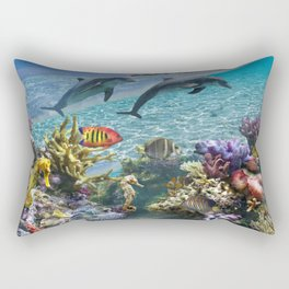 Coral Reef and Dolphins Rectangular Pillow