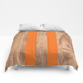 Wood Grain Stripes - Orange #840 Comforters