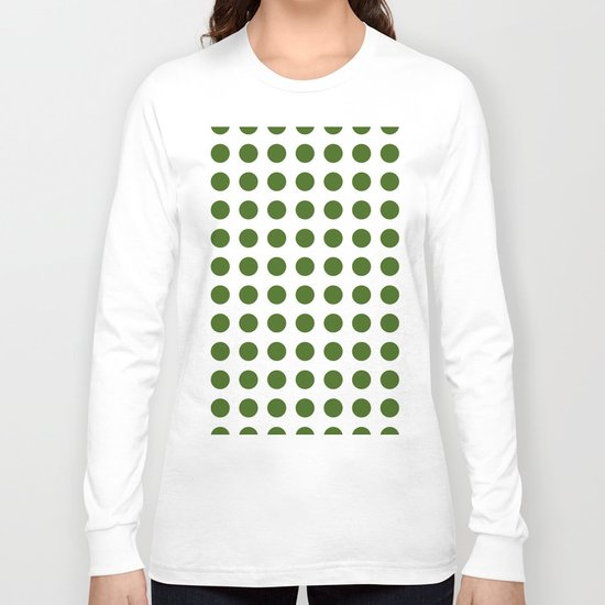 Simply Polka Dots in Jungle Green Long Sleeve T-shirt