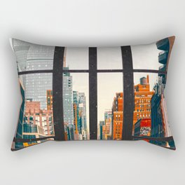 New York City Window #2-Surreal View Collage Rectangular Pillow