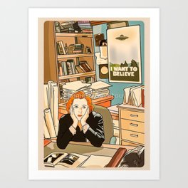 Dana Scully sit to the Fox Mulder's office Art Print