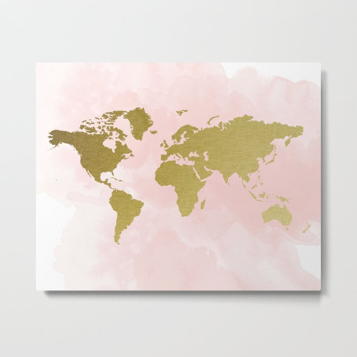 Gold world map poster metal print by peachandgold society6 gold world map poster metal print gumiabroncs Gallery