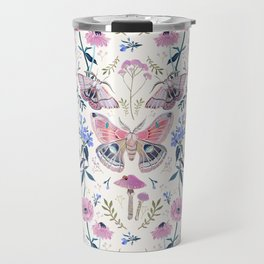 Lilac Butterfly and Flowers Travel Mug