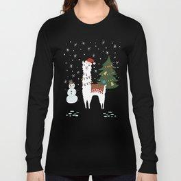 Santa Llama with Christmas Tree Long Sleeve T-shirt