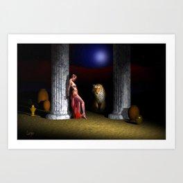 Midnight Encounter (Find the hidden pug) Art Print