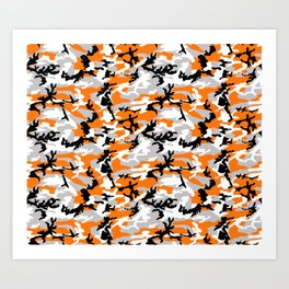 Orange Camouflage Pattern Art Print