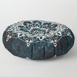 Glowing Spirit Mandala Blue White Floor Pillow