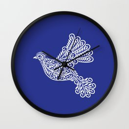 Peace, Dove, White on Blue Wall Clock
