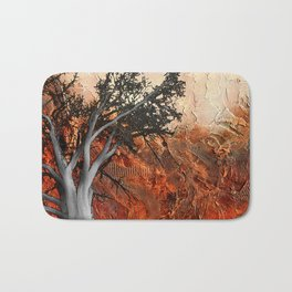 Red Abstract Landscape - orange red print  Bath Mat