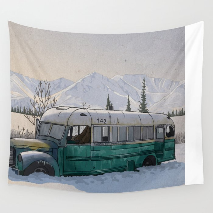 Into the Wild Fairbanks Bus Wall Tapestry