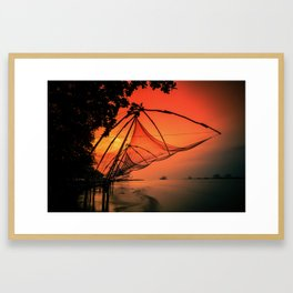 Chinese Fishing Nets, Kerala Framed Art Print