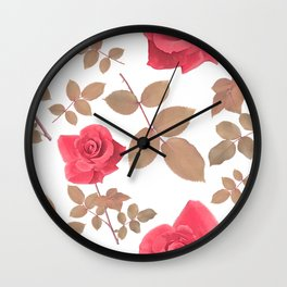 digital painting of seamless pattern with roses and leaves Wall Clock