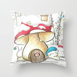 Mushroom in the Snow Throw Pillow
