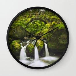 Stone bridge and waterfall in Luxembourg Wall Clock
