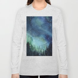 Galaxy Watercolor Aurora Borealis Painting Long Sleeve T-shirt