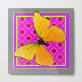 Decorative Fuchsia Purple Color Art Deco Yellow Butterfly Metal Print