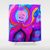 lsd Shower Curtains featuring octopus LSD by MichellicA