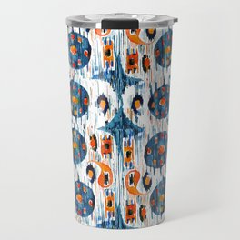 blue circle balinese ikat print mini Travel Mug