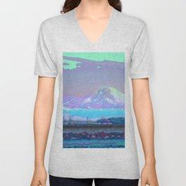 Mt Rainier from Discovery Park Enamel Unisex V-Neck