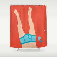 boyfriend Shower Curtains featuring Summer skinny dipping boyfriend pants by Little Smilemakers Studio