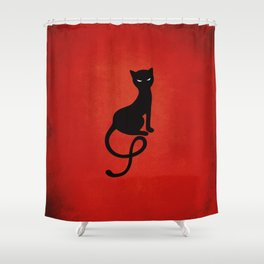 Red Gracious Evil Black Cat Shower Curtain