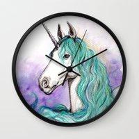 unicorn Wall Clocks featuring Unicorn by Pendientera