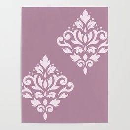 Scroll Damask Art I Pink on Mauve Poster