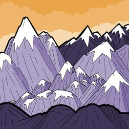 Framed Art Print - Mountains under the orange sky -  Steve Wade ( Swade)