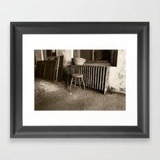 Broken stool on Ellis Island Framed Art Print