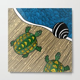 Struggle of the Turtle to the Sea Metal Print