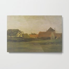Vincent van Gogh - Farmhouses in Loosduinen near The Hague at Twilight (1883) Metal Print