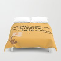 vonnegut Duvet Covers featuring Springtime by GiantEvilPizza