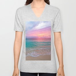 Aerial Photography Beautiful: Turquoise Sunset Relaxing, Peaceful, Coastal Seashore Unisex V-Neck