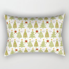 Traditional Christmas Trees Doodle Rectangular Pillow