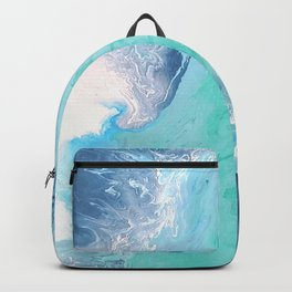 Blue Fluid Painting Waves Fluid Acrylic Abstract Backpack