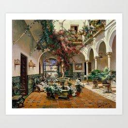 Interior Courtyard Seville Spain by Manuel Garcia Y Rodriguez Art Print