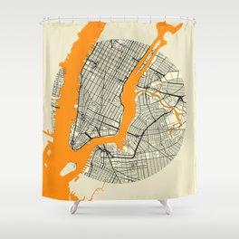 New York Map Moon Shower Curtain