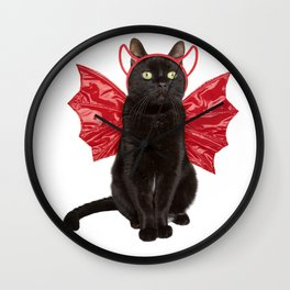 Black Cat in a Devil Costume Wall Clock