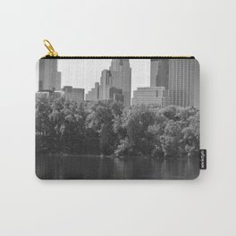 Minneapolis Minnesota Skyline Black and White River Carry-All Pouch