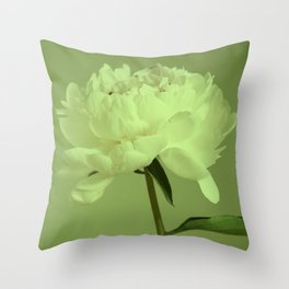 Single peony (greenery) Throw Pillow