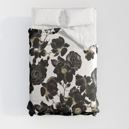 Modern Elegant Black White and Gold Floral Pattern Comforters
