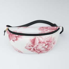 Pink Rose Garden on White Fanny Pack